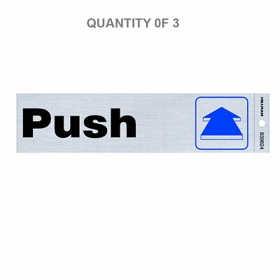 Hillman 839824 2-Inch by 8-Inch Black and Blue/Nickel Plastic Push Sign (3-Pack)