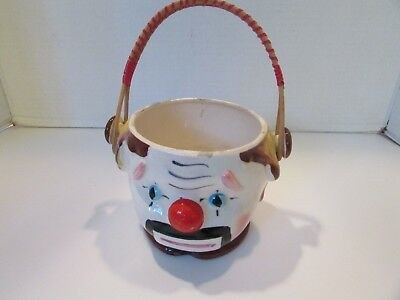 "Vtg Clown Face Planter Ceramic #10052 Bamboo Handle 4.25""h X 6"" W"