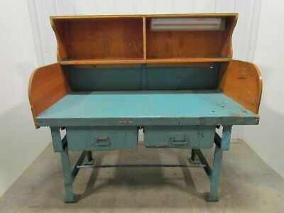Vintage Industrial Heavy Duty Workbench Desk Butcher Block Table Cast Iron Legs