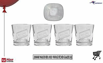 Johnnie Walker RED Scotch 4 x Etched Spirit Glasses 280mL Scotland Man Cave
