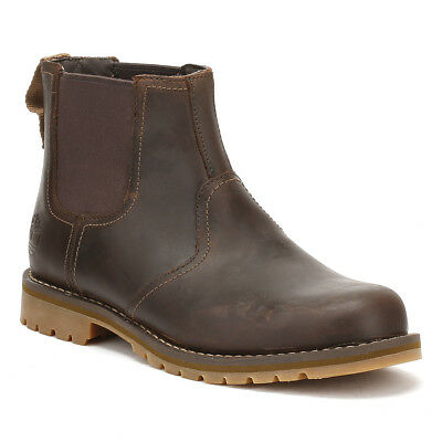 cd1d570fb3fb Timberland Mens Dark Brown Larchmont Chelsea Boots Pull On Leather Ankle  Shoes