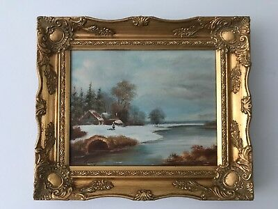 "Antique . Vintage . Painting . River Landscape . Signed. Oil On Canvas 8""x 10"""