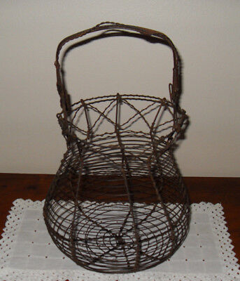 Antique Handmade Primitive Metal Woven Wire Egg Gathering Basket Country Farm