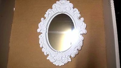 New Oval Vintage Antique Style White Tone Hanging Wall Mirror Plastic AC-2022