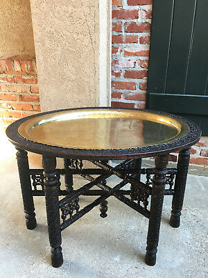 Antique Carved Wood Oval Coffee Tea Table Brass Tray Burmese Folding Campaign
