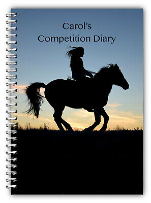 NEW A5 PERSONALISED BY PHOTO NAME OF HORSE & RIDER DRESSAGE COMPETITION LOGBOOK Sport en vakantie