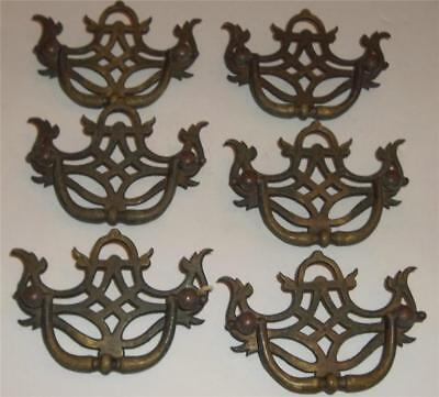 Vintage Cast Brass Drawer Pulls  Lot of 6
