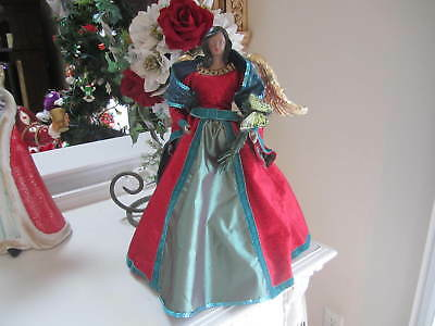 """Gorgeous 17"""" Black Ethnic African AmericanTree/ Table Topper Angel W/ BUTTERFLY"""