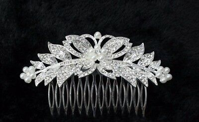 Bridal Communion Bridesmaid Prom-Hair Accessory Comb Clip Crystal  Pearl Style