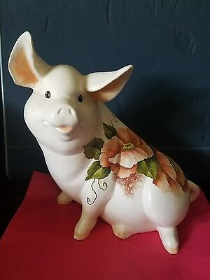 Pig Figurine Hand Painted with flowers, signed, vintage