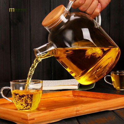 1PC High Resistant Glass Large Capacity Filtration Teapot Flower Pot Bamboo Lid