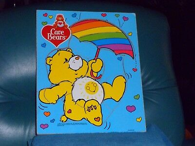 """Vintage CARE BEAR Funshine Bear 10 Piece Wooden Tray Puzzle 11 1/2"""" X 9 1/2"""""""