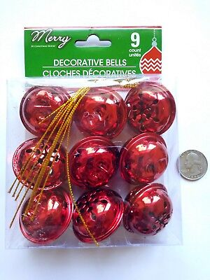 Christmas House Sleigh Bells 9 Count New Red Decorations metal bells
