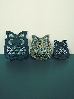 "3 Vintage Metal Owl Trivets Made in Taiwan Largest is 5.5"" × 4.5"""