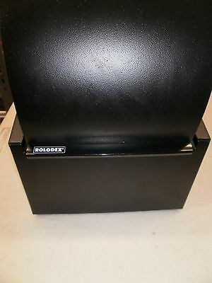 Vintage Rolodex Black with Cards and Dividers Office Desk Supplies