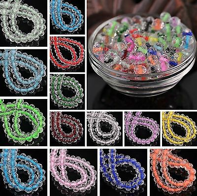 Wholesale 6mm Rondelle Faceted Crystal Glass Loose Spacer Bead Jewelry DIY 50PCS