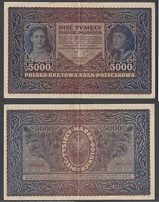 Poland 5000 Marek 1920 (VF++) Condition Banknote P-31 LARGE