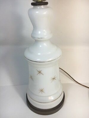 MCM Retro Table Lamp Brass White Milk Glass Atomic Starburst Gold Stars