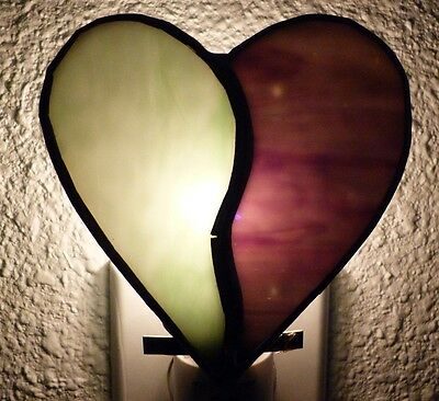 Split Heart Night Light, Stained Glass, Wall Plug In, Bedroom, Bathroom, Teens