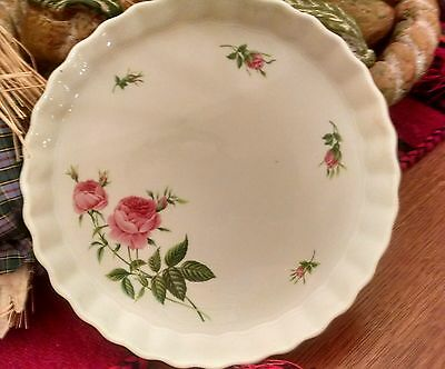 Christineholm Porcelain Fluted Quuich,Pie,Tart plate Rose Pattern white and pink