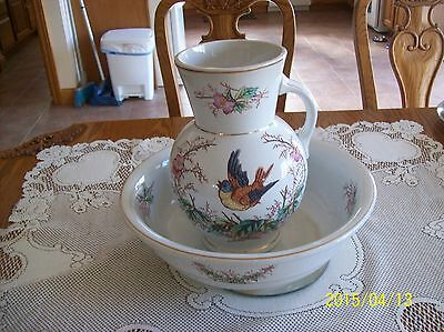 Knowles,Taylor & Knowles Liverpool Ironstone Pitcher & Bowl Bird Floral Design