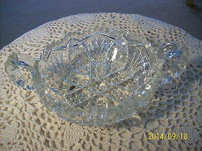 American Brilliant Cut Crystal Vintage Double Handled Nappy Bowl
