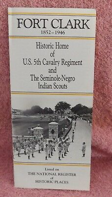 Fold-Out Brochure on  FORT CLARK Brackettville Tx  Home of Seminole-Negro Scouts