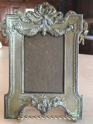 ANTIQUE c1800s VICTORIAN ORNATE METAL  PHOTO PICTURE FRAME