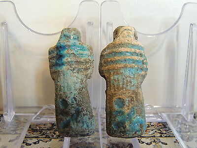 Pair Of Scarce Egyptian Glazed Blue Faiance Amulets Pendants