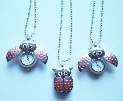 New Girl's/ladies Silver Owl Necklace Pendant Watch With Pink Decorative Wings