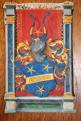 "Authentic Antique Glockendon ""bechler"" Coat Of Arms Gouache+Gold On Vellum 1544"