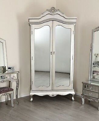 Silver Wardrobe Mirrored Glass Double 2 Door Armoire Antique French Shabby Chic