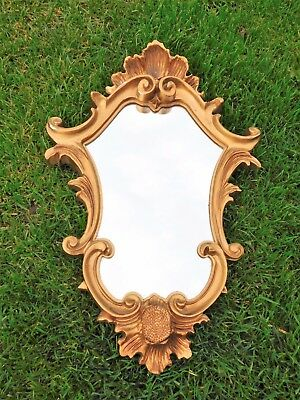 Miroir En Resine Doree  Sculptee  27.5Cmx41Cm Deco Chic Kitch Baroque Shabby