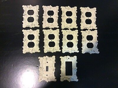 Lot of 10 Vintage Ornate Floral Metal Light Switch Wall Plate Covers Cream Color