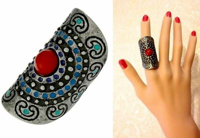 Topshop Wide Antique Silver Tone Metal Beaded Aztec Ethnic Ring New