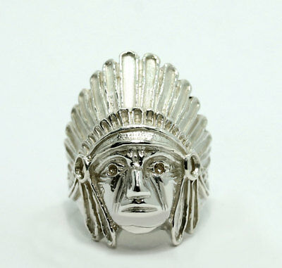 Vintage Sterling Silver Native American Chief Indian Head Ring Size 9.25