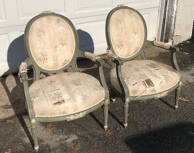 Pair Of Vintage Quality Painted French Open Armchairs