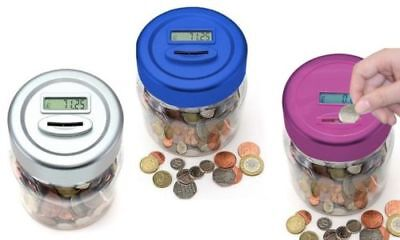 Lcd Money Electronic Counting Jar Box Digital Piggy Bank Accepts £1 Coins New