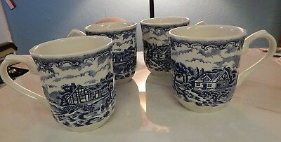 Four Churchill The Blue Brook Vintage Mugs Cups Cottage