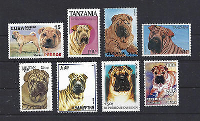 Dog Art & Photo Head Portrait Postage Stamp Collection CHINESE SHAR-PEI 8 x MNH