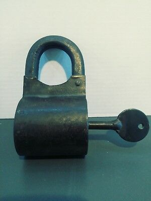 Antique Round Shaped Lock with Key. Turnkey Latch Metal Handmade. Offers Welcome