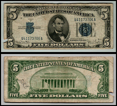 1934D $5 Great Silver Certificate Blue Seal Great Piece Of History V69