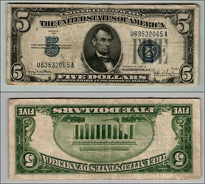 1934D $5 Great Silver Certificate Blue Seal Great Piece Of History Lotj714