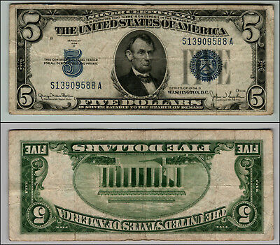 1934D $5  Silver Certificate Blue Seal Great Piece Of History Lot J744