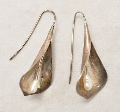 VTG Ed Levin Sterling Silver & Pearl Calla Lily Earrings