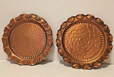 """Vintage Pair Gregorian Hammered Solid Copper Decorative Wall Hanging Plates 9.5"""""""