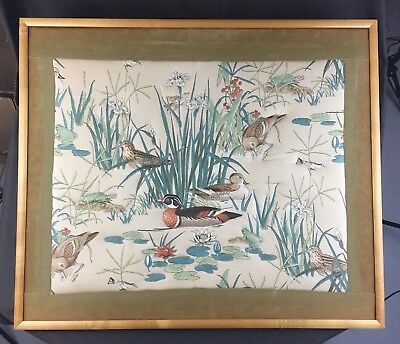 Framed Raised Fabric Wall Art, Pond Wildlife, Ducks Frogs Turtles Orchids, 33x28