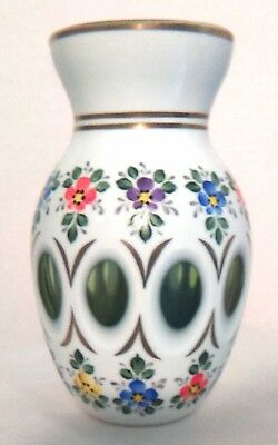 Bohemian Art Glass Flower Vase Czech Moser Cased Green Hand Painted Vintage