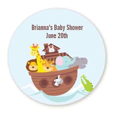 Noah's Ark - Round Personalized Baby Shower Sticker Labels - 6 sizes