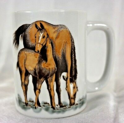 Vtg OTAGIRI Embossed Horse w/Foal Mug ~ Darren j Cook Beautiful! NEW